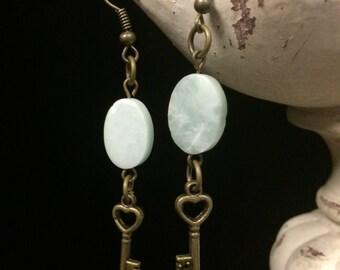 Amazonite and Brass Keys Earrings