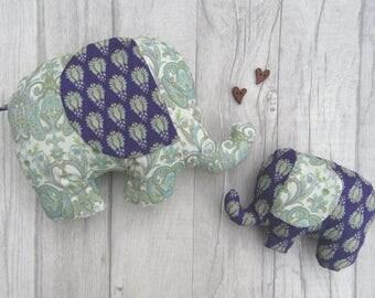Stuffed Fabric Elephant, Stuffed Animal, Little Girl Gift, Baby Gift, Birthday Gift, Stuffed Elephant Softie, Baby Gift, Purple Elephant