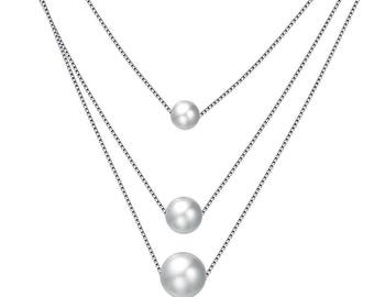 Triple Pearl Sterling Silver Necklace