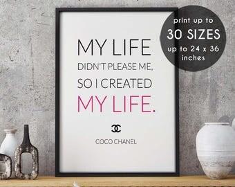 Coco chanel poster, My life, created my life, coco chanel art, coco chanel decor, black and white,chanel printable,fashion art,home decor,37