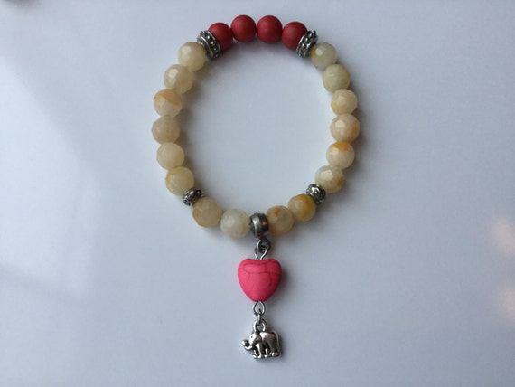 Bracelet charm elephant of yellow and Red aventurine and elephant and lucky heart :), bracelet Yoga, meditation bracelet,