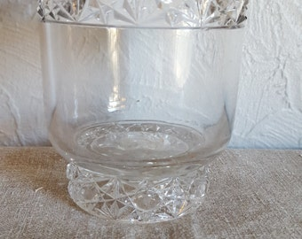 Antique pressed glass tumbler or spooner, with pontil mark, great for wedding centerpiece