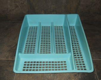 Vintage Turquoise Deka Plastics Silverware Tray
