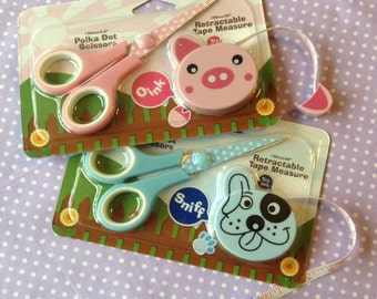 Pink or Blue Polka Dot Scissors and Retractable Tape Measure, Pink Pig or a Blue Dog