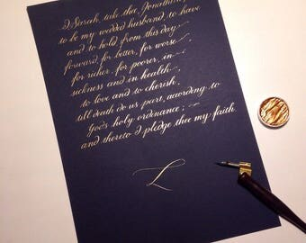Custom calligraphy for wedding vows, wedding vow renewal, poem, menu, quote, wall art - bronze/silver/gold ink on blue/black paper, UK