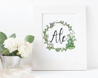 Princess Tiana print, princess and the frog print, disney princess print,  customized bedroom print