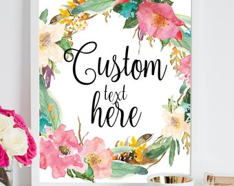 Personalized quote,Floral Quote Print,Custom words print,Custom scripture print,Custom Watercolor,Custom Quote,Custom Print,Custom Art