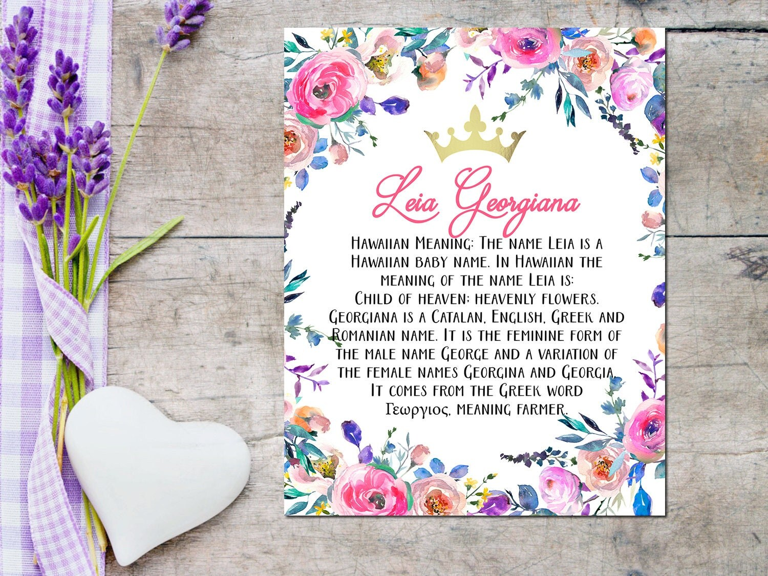 Custom name personalized art print with meaning of namebaby zoom negle Choice Image