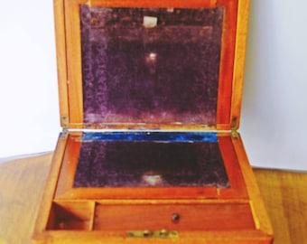 Antique Lap  Desk, Wood Letter Desk, 1800's - Early 1900's Lap Writing Desk