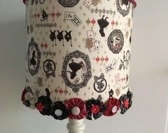 Goth Alice in Wonderland handmade lampshade