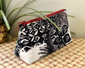 Triangular Prism Zipper Bag in Black and White Hawaiian Fabric with Red Zipper and Lining, Small Zipper Pouch for Travel or Organization