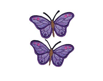 Purple Butterfly Iron On Applique, Butterfly Iron on Patch, Purple Butterfly, Kids Patch, Butterfly Applique, Embroidered Patch, Pack of 2