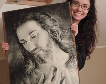 Jesus of Nazareth - BIG size - Drawing custom Jesus Christ charcoal and pencil Portrait Christian Art  gift