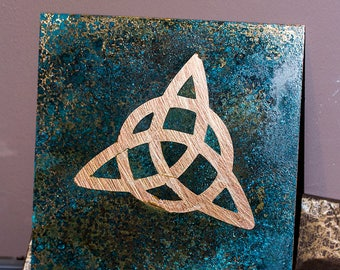 Celtic knot copper wall art / tile with blue patina