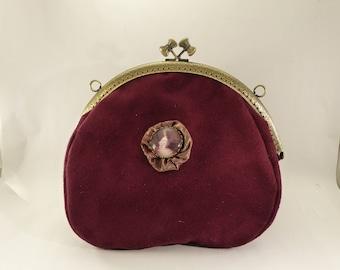 bag in Burgundy suede Sissi Empress / / old scholarship / / bag vintage / / Victorian / / retro / /.
