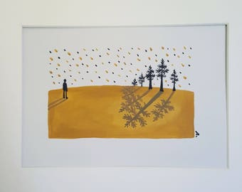 Looking at the Trees Acrylic on paper Original painting 8inx10in (20cmx25cm) Hand painted (Free Shipping US)