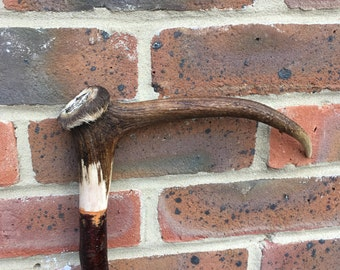 A Pagan/Wizard/Druid Walking Staff with a Deer Antler Handle and Embedded Pentogram and Hawthorn Shank