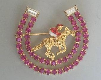 Lovely Crystal Horseshoe Brooch W/horse & Jockey