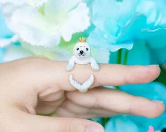 Lovely Cute Hand Painting Enamel Realistic Harp Seal Ring