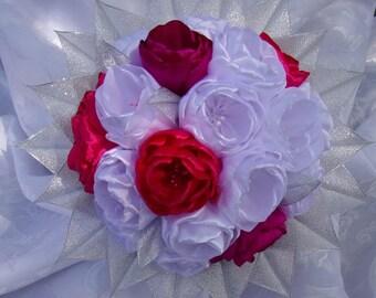 Fuchsia pink, white wedding bouquet, money/Bridal Bouquet satini/blooming kanzashi/Ribbon satin