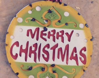 Metal Merry Christmas Bulb Sign