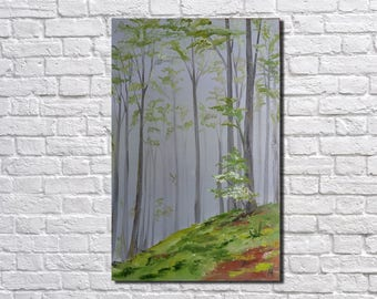Landscape painting Abstract painting Large Canvas Wall Art  forest modern art Original oil painting Wall Decor