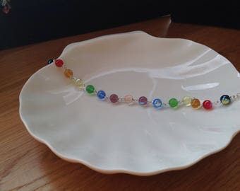 The Rainbow Collection- 6mm Czech glass sphere bracelet