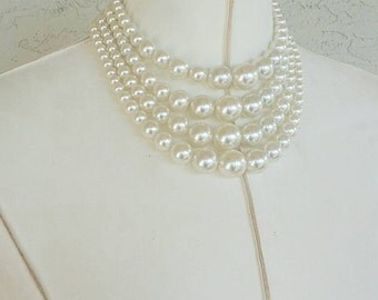 Vintage Pearl Bauble Strands Choker