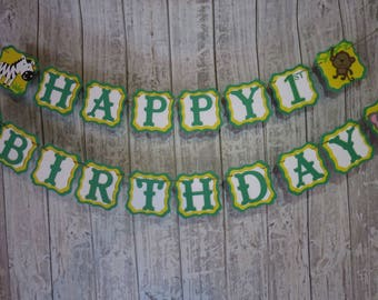 Jungle Party Birthday Banner, FREE US SHIPPING, Jungle Theme Party, Birthday Banner, Jungle Animals