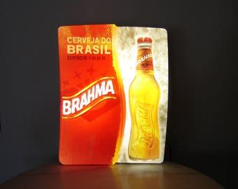 Enseigne publicitaire lumineuse Brahma cerveja du Brasil. Beer advertising. Déco bar. Bresil