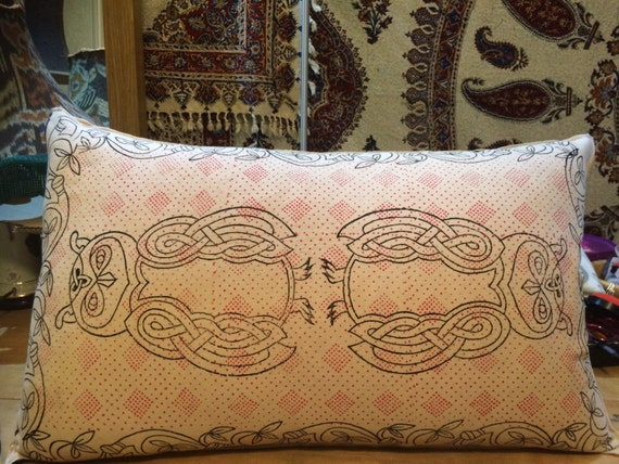 Block printed owl design , decorative pillow, handmade pillowcase , tapestry pillow, pillow cover, organic textile, slow fashion