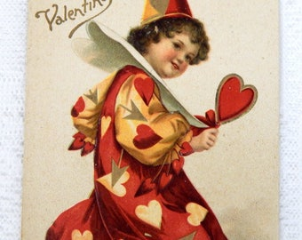 Postcard Vintage Valentine Boy in Clown Costume Embossed - 1900's
