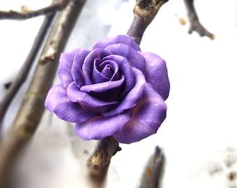 Purple ring Large purple ring Flower ring Rose ring Jewelry rose Large ring Cute ring Polymer clay 925 sterling silver