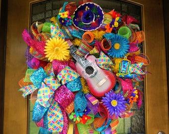 Deluxe Fiesta Wreath, Cinco de Mayo Wreath, Birthday Wreath