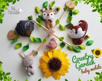 Garden Baby Mobile - Forest Mobile- Woodland Mobile - Baby Mobile - Cot Mobile - Crib Mobile - Butterfly Mobile