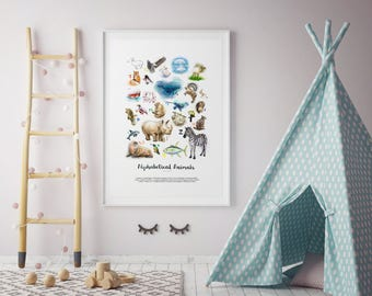 Poster, Animals, Baby, Nursery, Wall Art, Prints, Illustration, Home Decor, Bedroom Art, Living Room Art, Interior, Nature