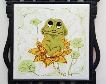 Vintage Cast Iron & Ceramic Trivet - 1970s Sears Neil the Frog
