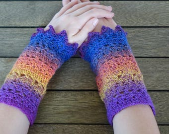 CROCHET WRIST WARMERS Fingerless Gloves Mitts - Multi Handcrafted Pointy Picots -  Made Entirely With Love & A Little Wool