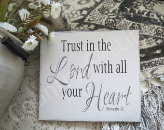 Scripture Sign/Religious Sign/Christian Sign/Trust In The Lord