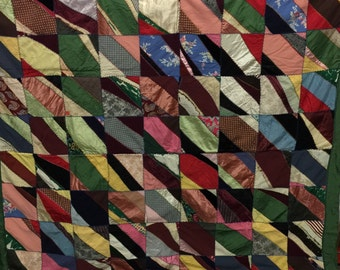Vintage quilt crazy quilt satin fabric victorian embroidery antique bedding Red yellow pink