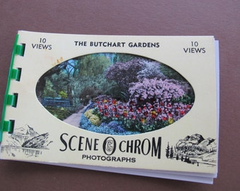 Butchart Gardens photo booklet / SceneOChrom Vintage bound photo collection / Victoria Canada