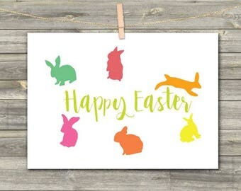 DIGITAL CARD Happy Easter download card Greeting Card easter rabbit bunny color green red yellow pink