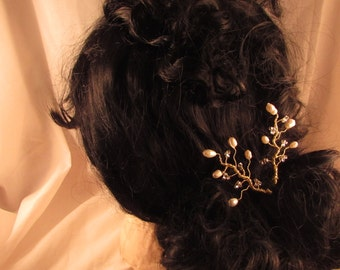 Fresh Water Pearl Hair Pins, Black Pearls, Pearl Branches, Wedding Hair Pin, Great Gift, KtReidDesigns, Made in Canada