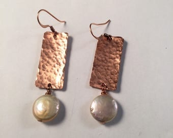 Copper with Coin Pearl Earring