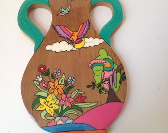 Vintage South American Wooden Tropical Rainforest Bright Colored Key Hook Wall Key Holder