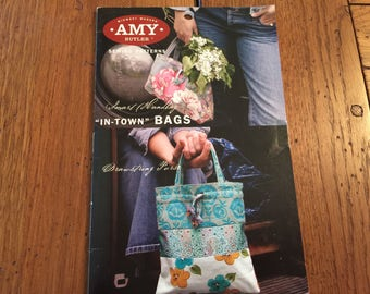 """Amy Butler Midwest Modern Sewing Pattern NEW """"In town bags"""" paper pattern uncut Handbag and purse"""