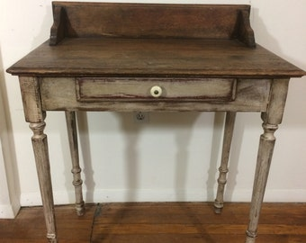 Antique washstand, writing/computer desk with matching chair.