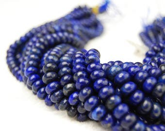 """Smooth Lapis Lazuli Rondelle Loose Beads Size:2X4mm/4X6mm/5x8mm 15.5"""" Long Per Strand.I-LAP-0267"""