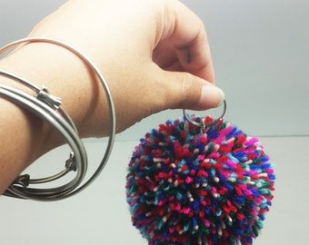 Pom Pom Keyring-Yarn mix colors