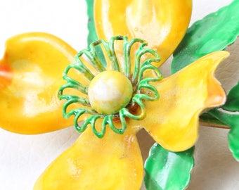 Vintage 1950s Hattie Carnegie Yellow Flower Brooch